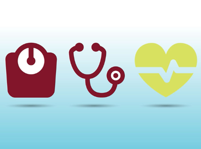 scale stethescope heart icons