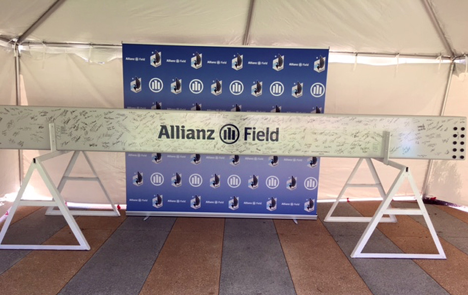 Allianz Field signed beam 9 2018