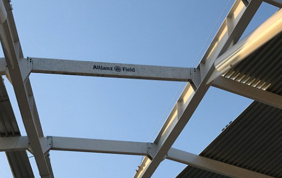 Allianz Field signed beam installed 9 2018